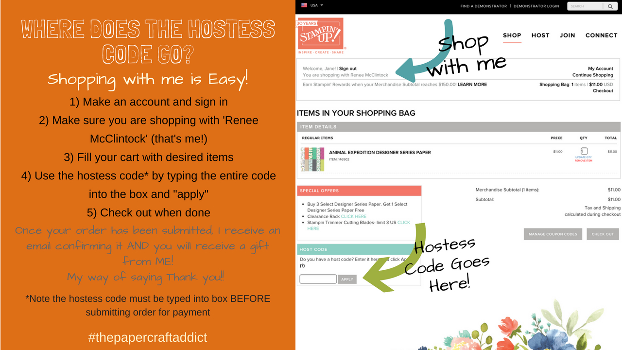 How to use the Hostess Code